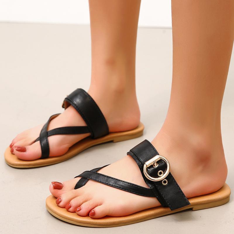 Sandalen Daigelo Cool Atmungsaktive Frauen Flip Flops Lässige Massivfarbe Strand Hausschuhe Niedrige Schuhe Wohnung 2021