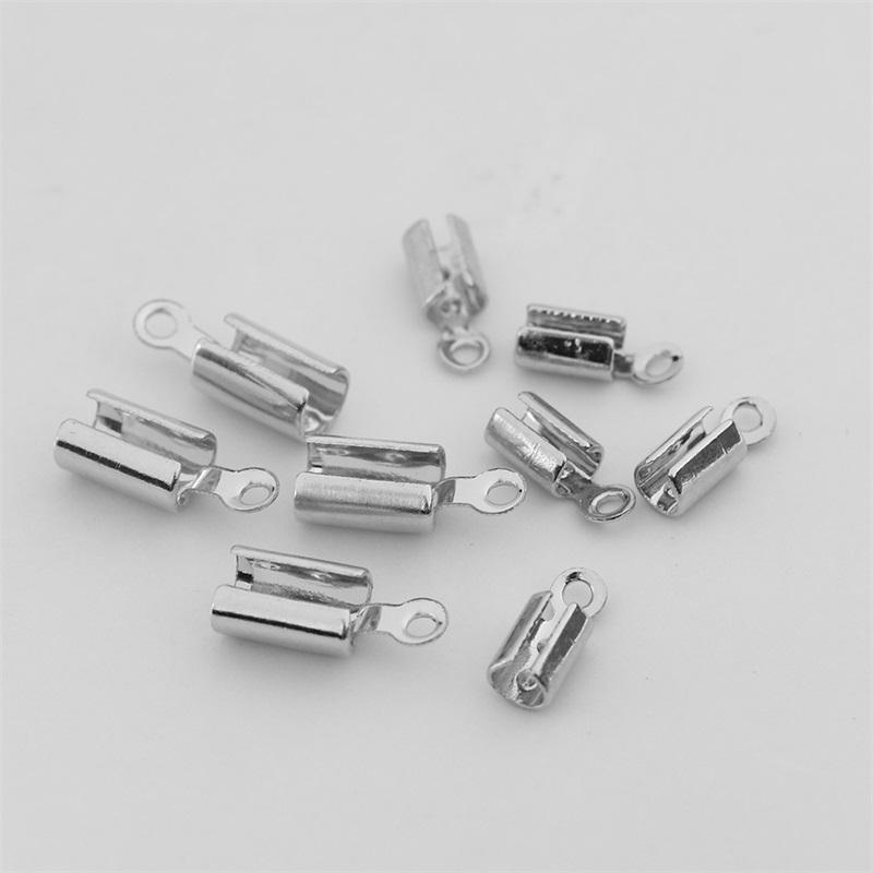 50 шт. 1-5 мм из нержавеющей стали кожаный шнур обжимные бусины конечные крышки крепеж браслет ожерелье разъемы для изготовления ювелирных изделий 1559 Q2