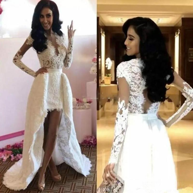 New Short Front Long Back Lace Wedding Dresses Long Sleeve Detachable Train V Neck Hollow Back High Low Bridal Gowns Formal Dress