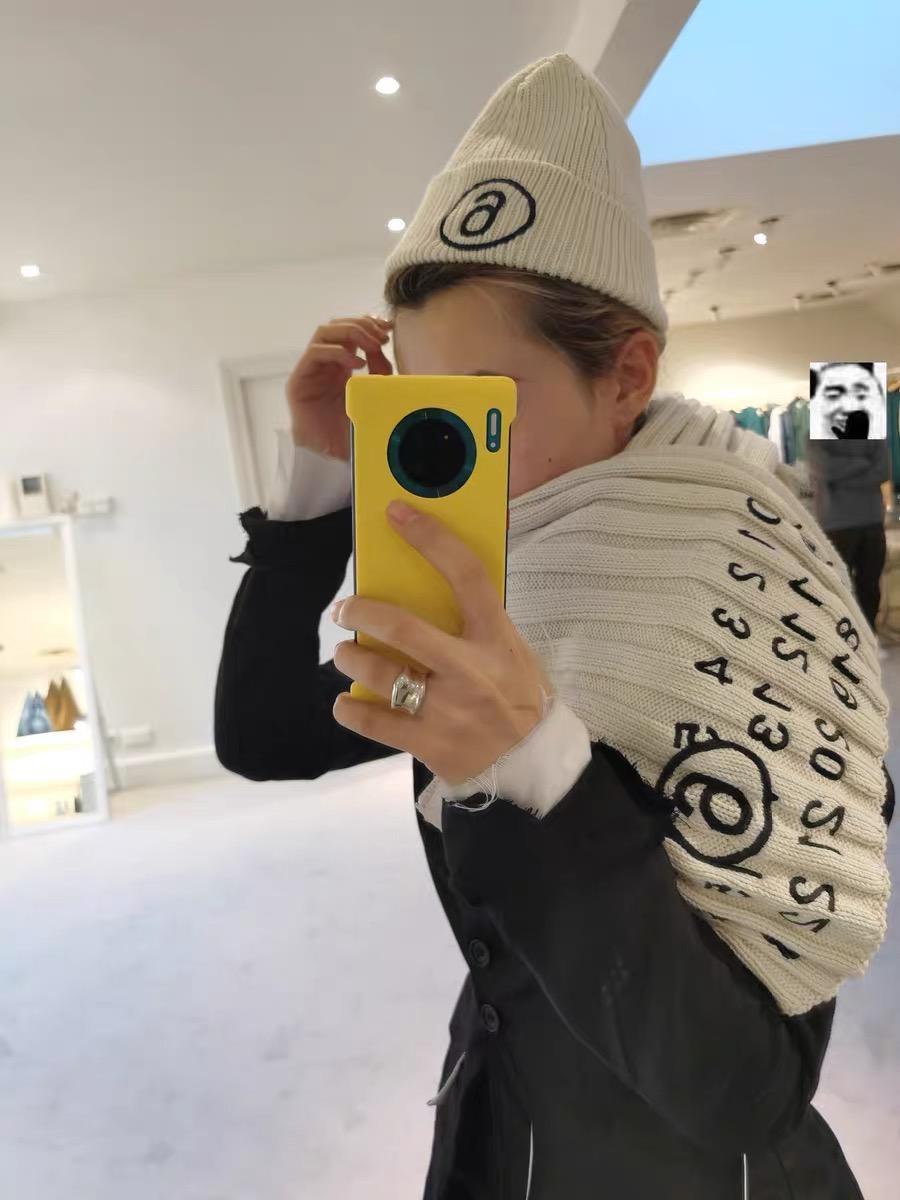 21SS MMM Style Vielseitige Schal Digital Logo Gestickte Wollipp Rippgestrickte Herren- und Damenmodeschal