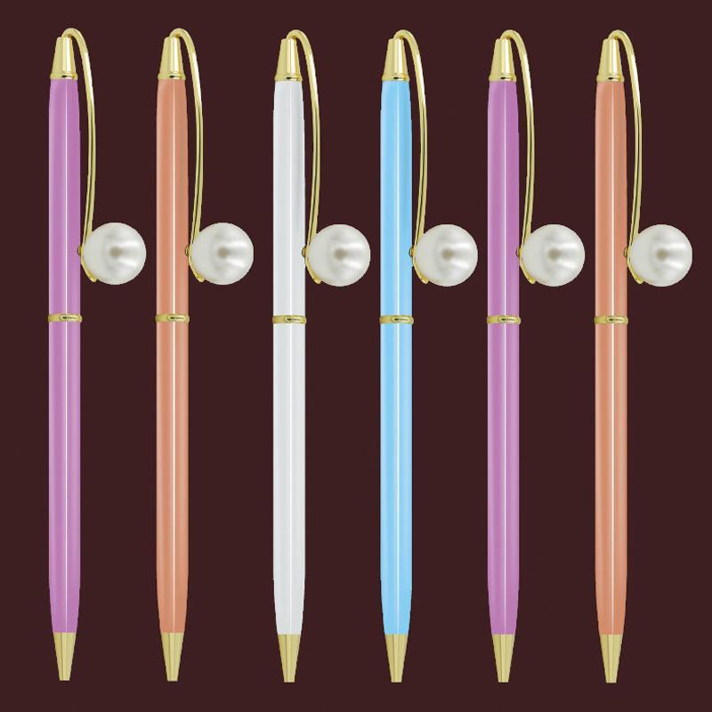 Ballpoint Pens 500pcs/lot Style Pearl Pen Metal Rotating School Office Students Gift Stationery 0.7mm Black Blue Ink Custom Logo