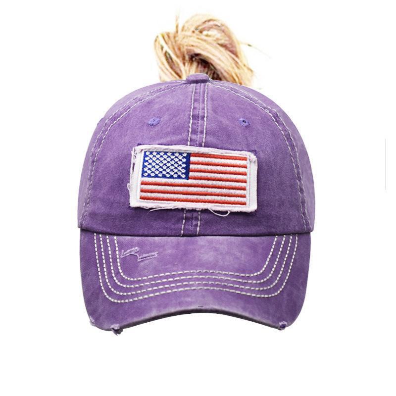 Frauen Pferdeschwanzhüte Amerikanische Flagge Embroander Baseballkappe WASHE LOCH NET HAT Klassische Ballkappen Einstellbar Outdoor Sport Visier CCD7911
