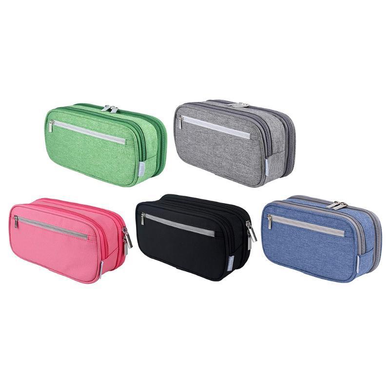 Bâche de stylo à fermeture à glissière durable Papeterie de maquillage de maquillage pour garçons Filles Étudiants Bureau Crayon Sacs