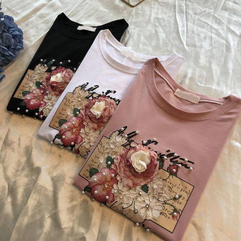 2021 Sommer Frauen T-shirt Kurzarm Baumwolle Blumendruck Weibliche T-Shirts Perle Applikationen 3D Perlen o neck casual elegant 210421