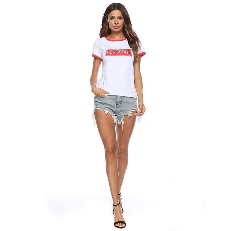 T Shirt Diseño Impresión de la impresión Hengsong Color Contraste de manga corta Camiseta de las mujeres