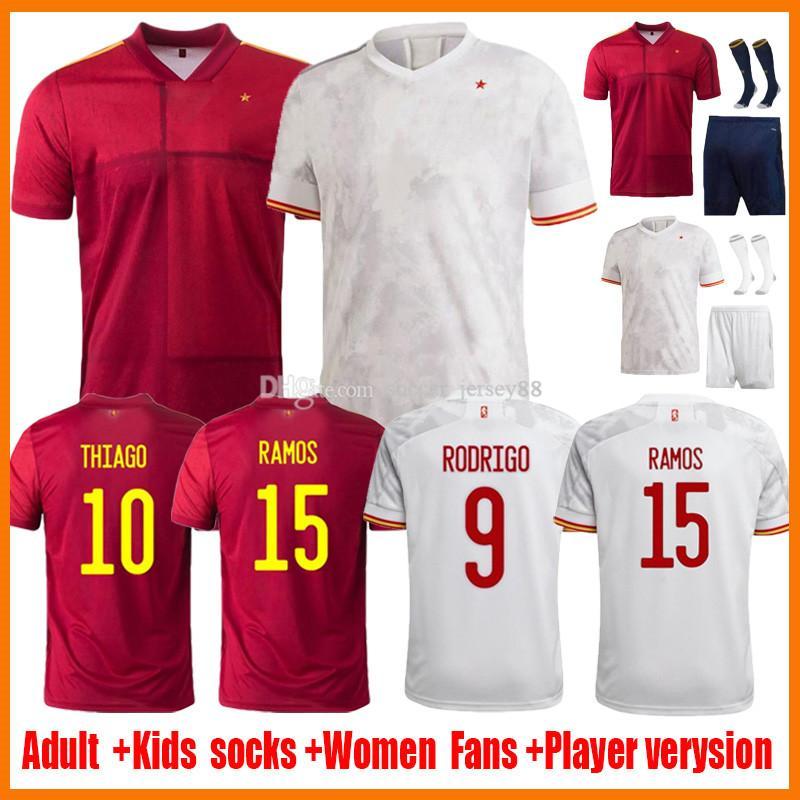 2021 Espana Soccer Jerseys Rodrigo Torres Spagna Fans Versione giocatore Versione calcio Camicie Morata Ramos Thiago Iniesta Donne Donne Kit Kit Kit Kit España Attrezzature Camisetas de Futbol