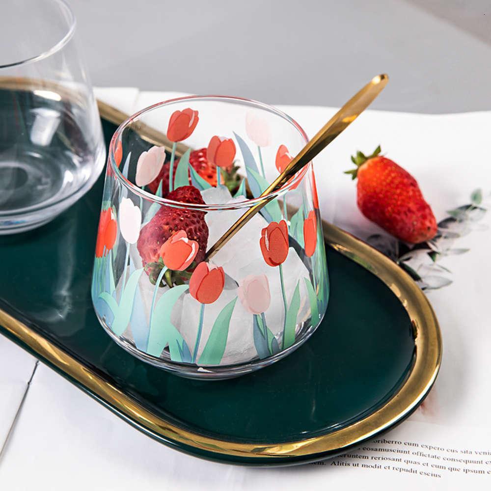ПИЛЕНЬЯ 390 мл Япония и Южная Корея, окрашенные вручную тюльпан Цветочный стеклянный стеклянный бытовой термористант Выпивать большой животный мусс