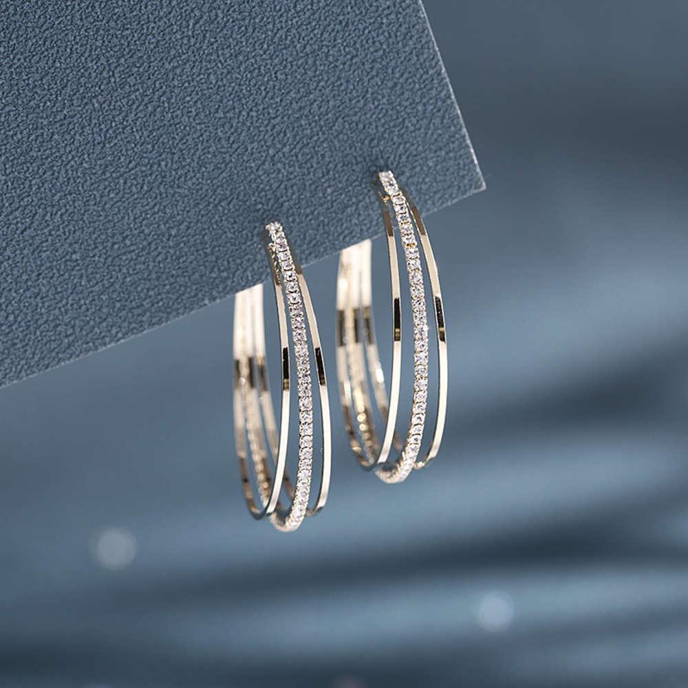Neue koreanische temperament volle zirkonium c-ring ohrringe kalt wind ohrringe übertriebene personalität s925 silber nadel ohrringe für frauen