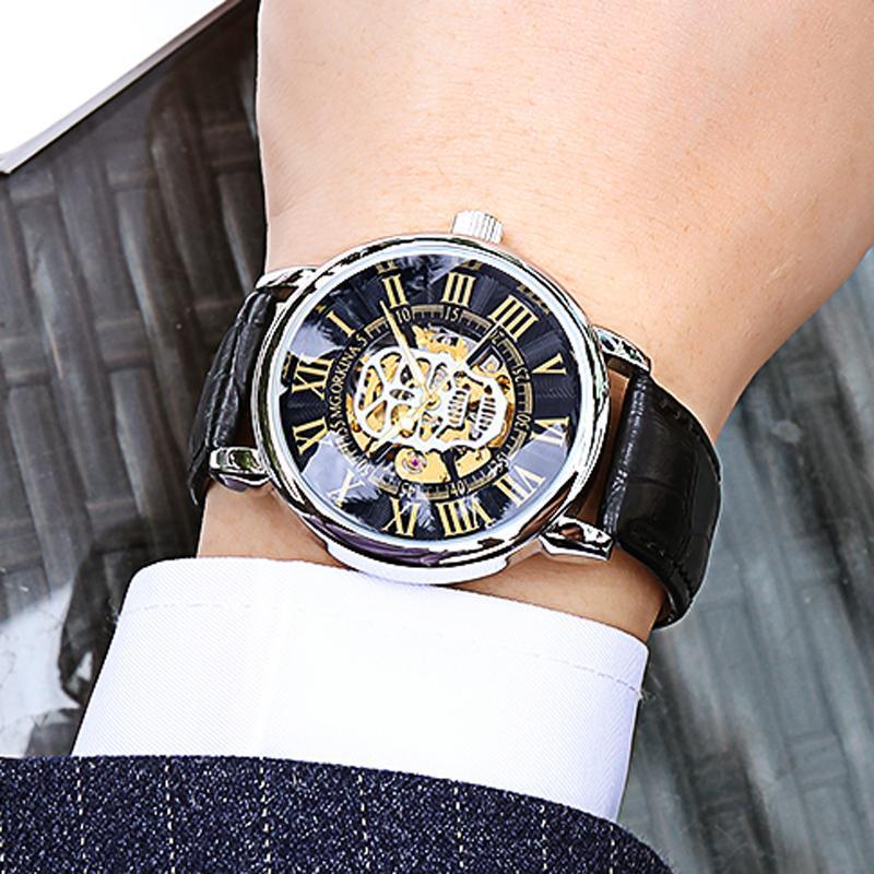 Armbanduhren uhr für männer top automatische mechanische mann uhr schwarz leder sport armbanduhr relogio masculino 2021