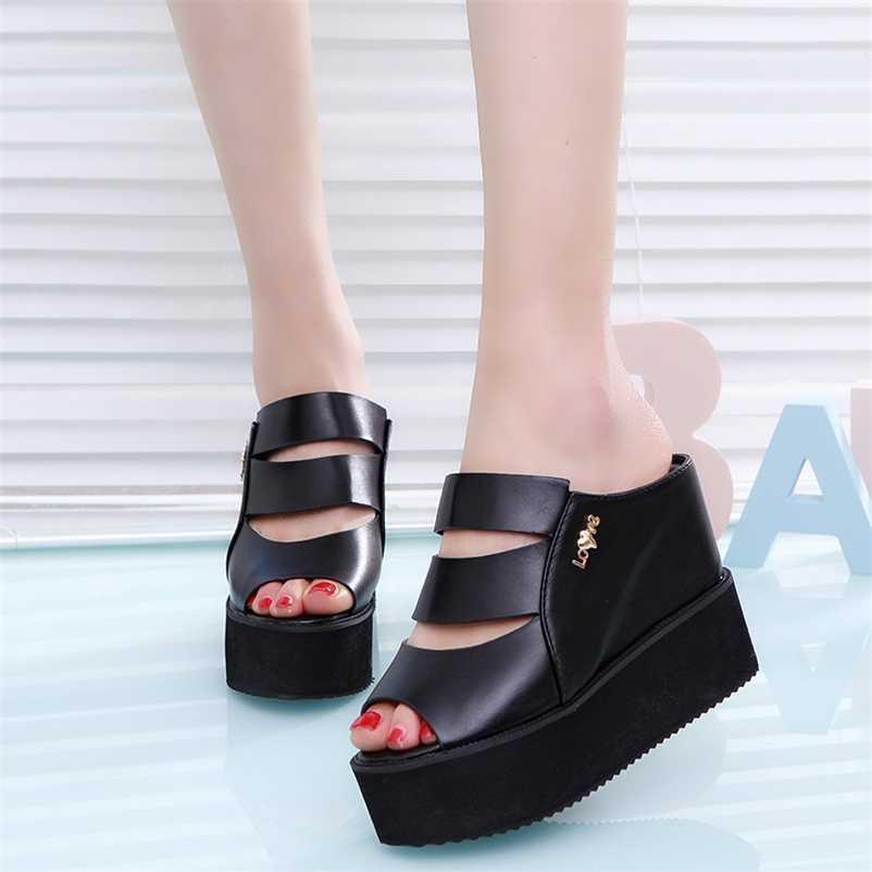 Lucyever Kadınlar Sandalet Takozlar Kadın Için Yüksek Topuklu Yaz Flip Flop Chaussures Femme Platformu 210619