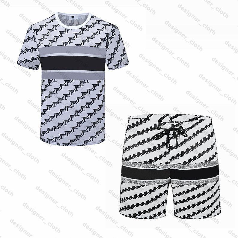 2021 남성 해변 디자이너 Tracksuits 여름 정장 패션 티셔츠 해변 휴일 셔츠 반바지 세트 남자 s 럭셔리 세트 의상 운동복