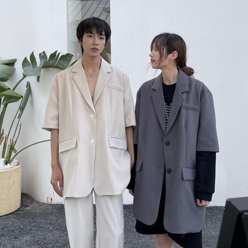 Costumes Hommes Blazers Été Blazer à manches courtes Fashion Greige costume beige Veste Hommes Coréenne Business Society Hommes Robe S-2XL