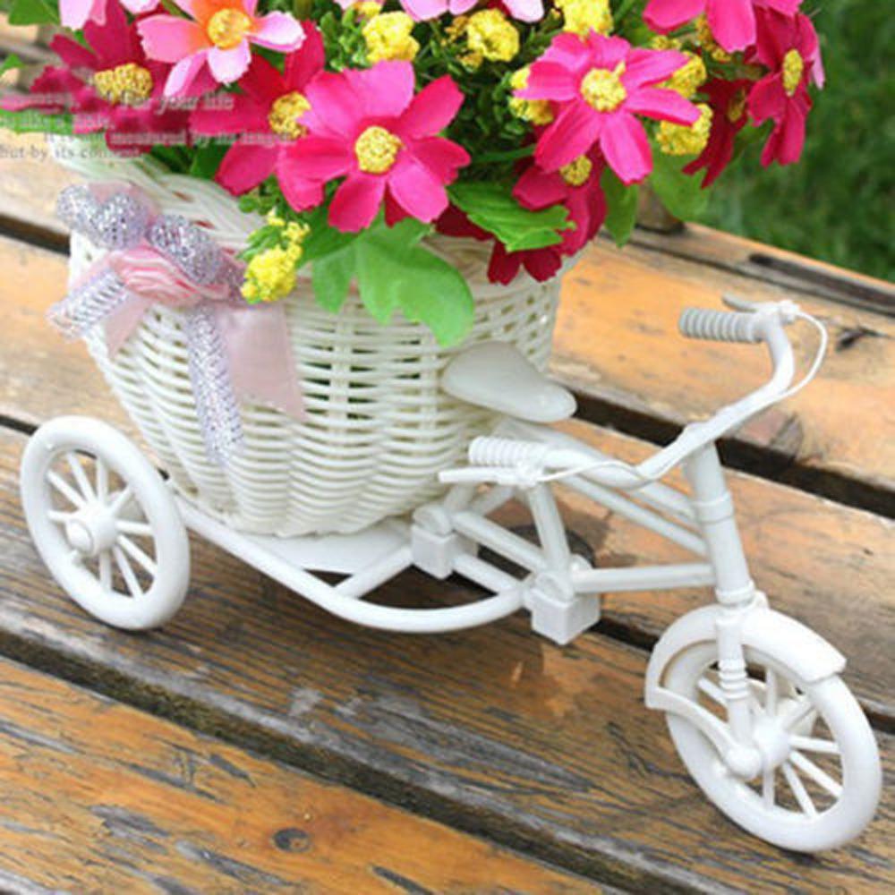Nova bicicleta decorativa cesta de flor 2020 mais recente plástico branco triciclo design cesta de flor de flores de armazenamento