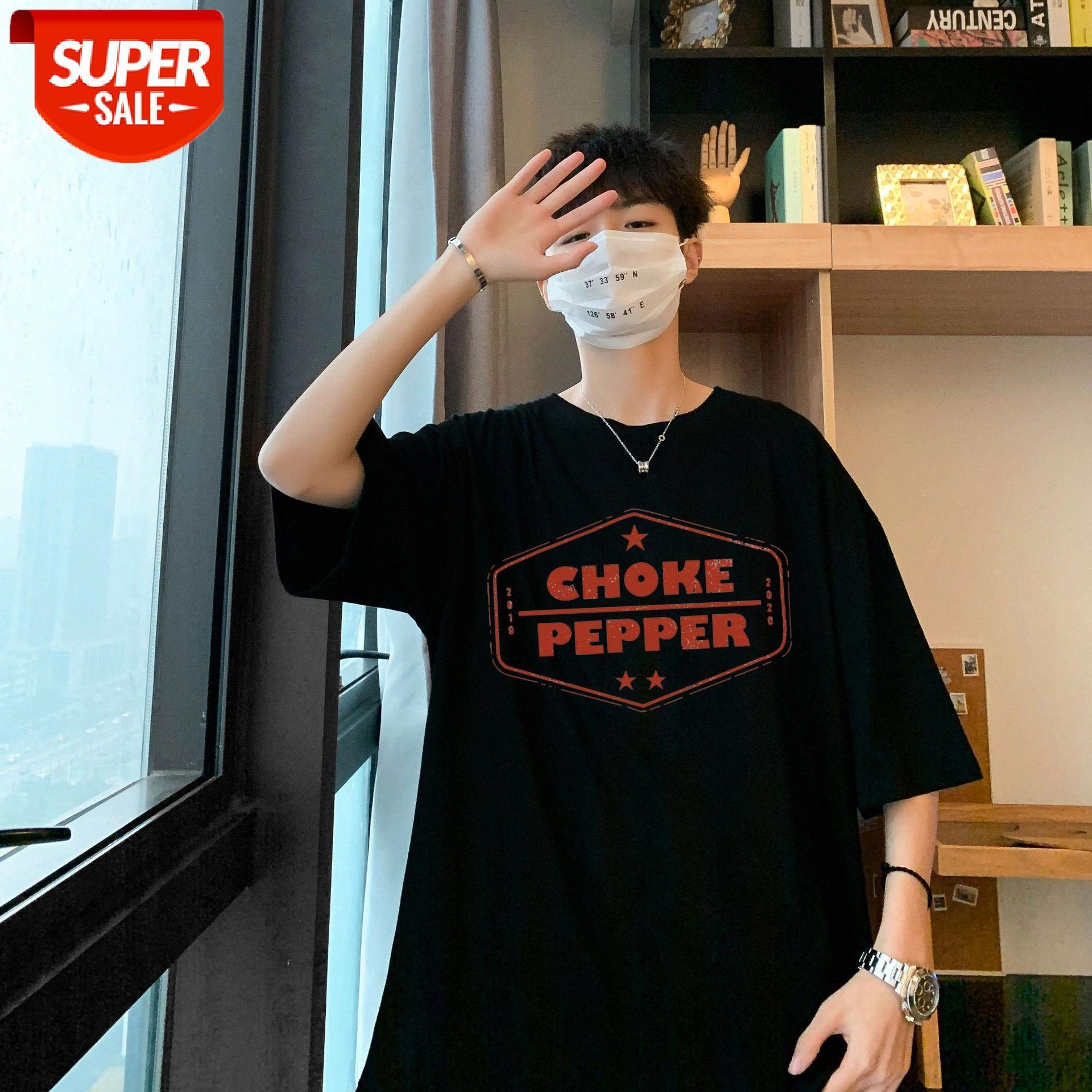 Hong Kong tarzı erkek kısa kollu tişört yaz gevşek eğilim yarı kollu erkek gelgit marka vücut giysileri # we8e