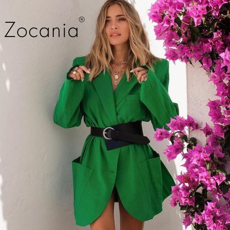 Women's Suits & Blazers Solid Loose Jacket Shoulder Pads Coat For Girls Autumn Tailored Collar Female Blazer Fashion Jackets Women 2021