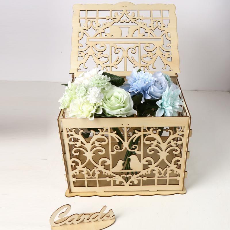 A caixa do envoltório do presente fornece a decoração de madeira criativa do dinheiro da decoração do partido de diy aniversário de madeira com acessório do fechamento