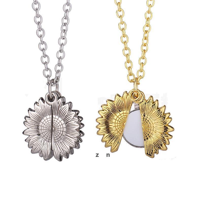 Сублимационные пустые подсолнечника кулон ожерелье теплопередача круглая партия украшения ожерелья DIY подарок с цепью DHB7233