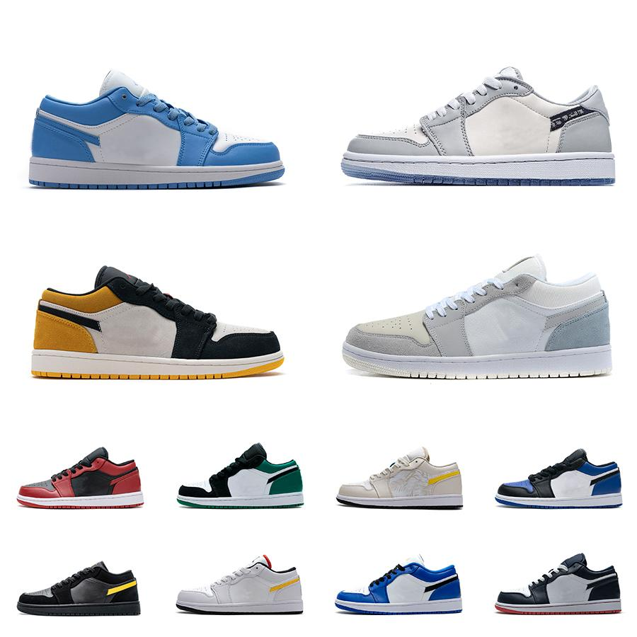 Hommes 1 UNC Basketball Chaussures de basket University Gold Smoke Grey Varsity Red Obsidienne Basse 1S Femmes Yellow Bannue Bred Bred Chicago Black Tee Toe Court Violet Pine Vert Sneakers