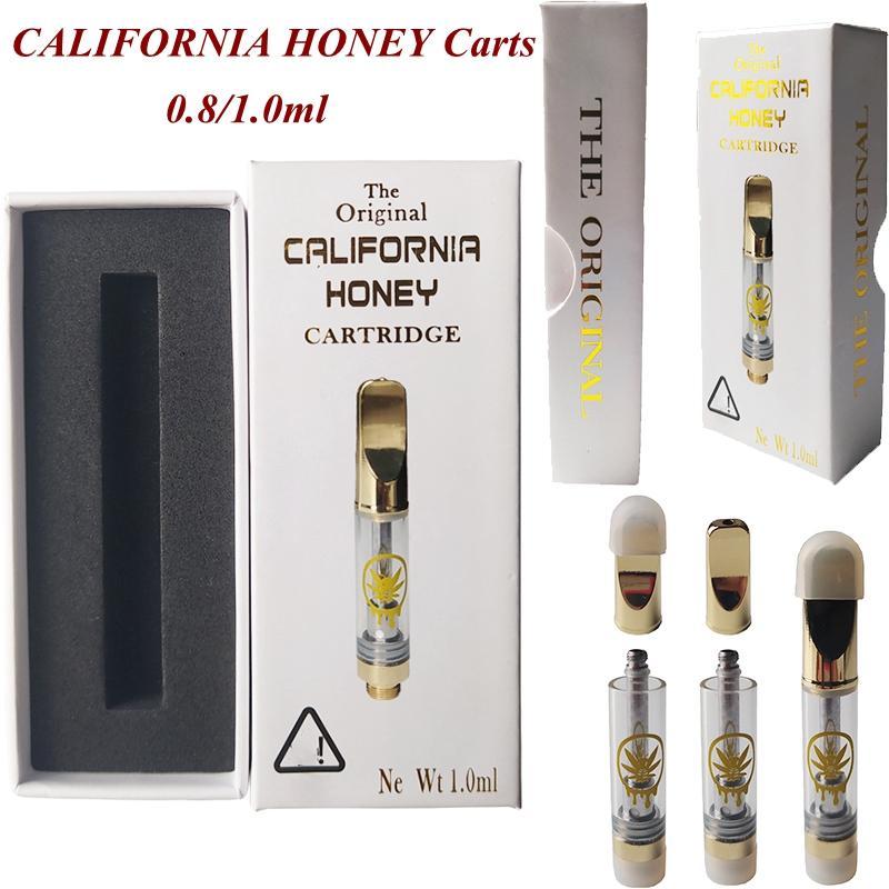 Cartuchos de Vape California Atomizadores de miel de California Boquilla de cobre 1ml 0.8ml Aceite de espesor 510 Cartucho de hilo Vapes Carros Packaging E Cigarrillos Caja personalizada