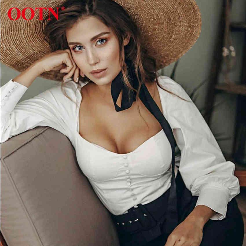 Ootn Square Collar Bianco Tunica Donne Donne Camicetta Camicia Femmina Elegante 2019 Summer Sexy Puff Sleeve Tops Signore Ufficio Camicette Casual
