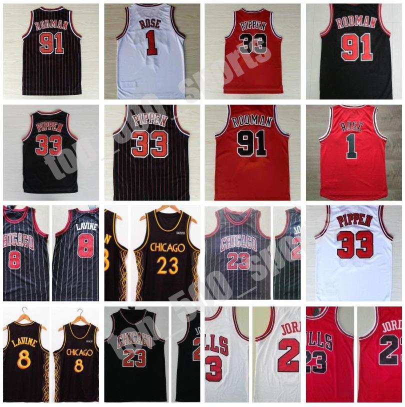 스티치 남자 Derrick Rose Zach 8 Lavine Jersey Scottie Pippen Dennis Rodman 레트로 농구 빨간 셔츠 수 놓은 자수