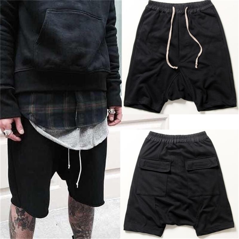 shorts pretos frescos moletom 30-40 mens jumpsuit hiphop rock stage urbano vestido harem 210330