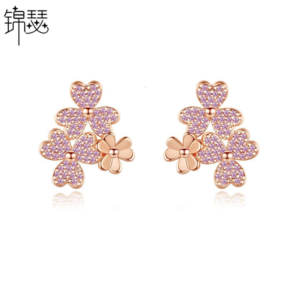 Jinse Shanlan Neue koreanische Blume Kupfer Set Zirkon Ohrringe Einfache und sanfte Temperament-Ohrringe