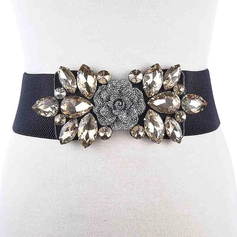 Cinturones femenina CRISTAL AMPLIA AMPLIA Cintura elástica de la cintura para las mujeres Vestido de las señoras Cintura Cummerbund Accesorios BL226