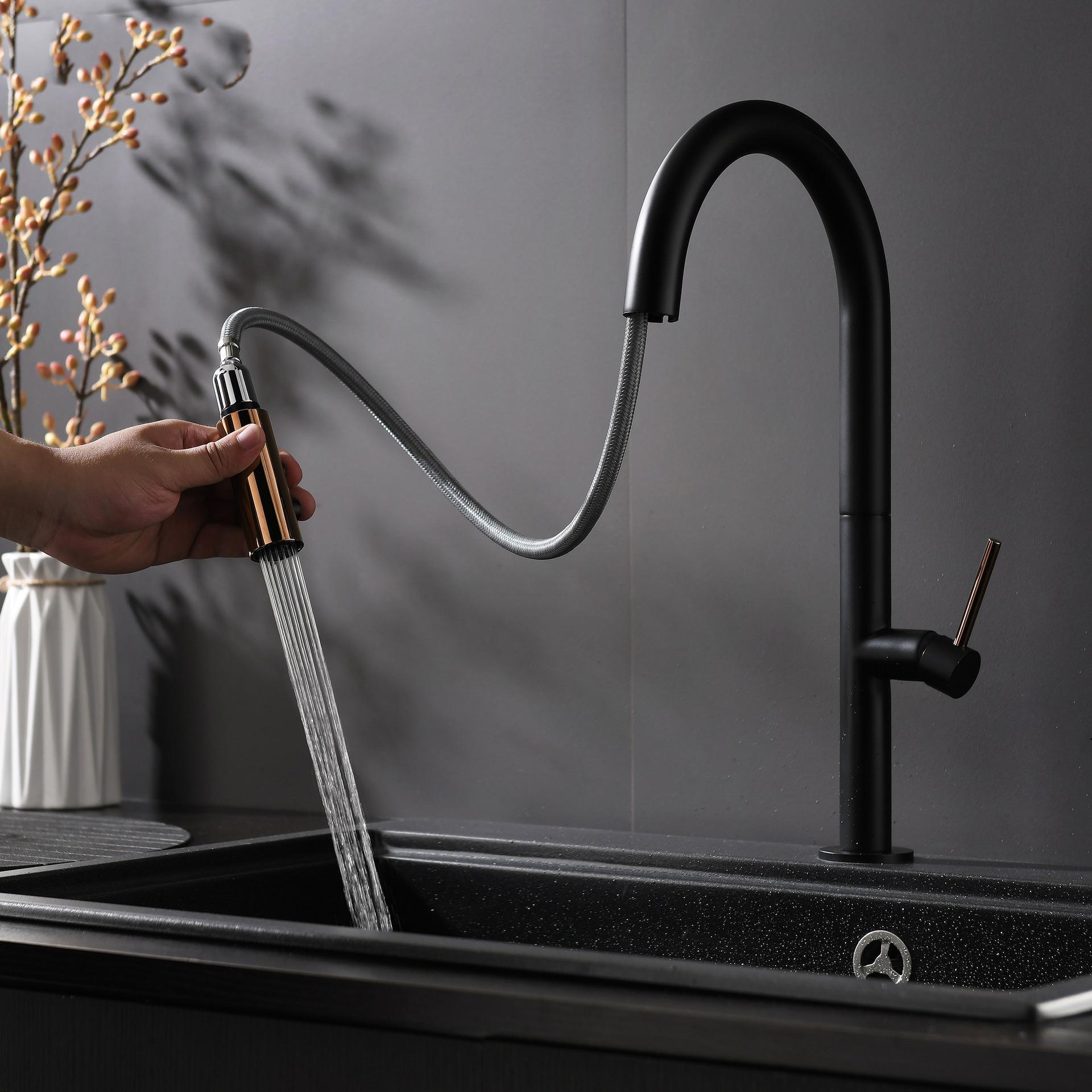 Tutto il rubinetto estraibile universale multifunzionale di rame con la maniglia singola Rotazione a 360 gradi adatta per la lavandino del piatto della cucina