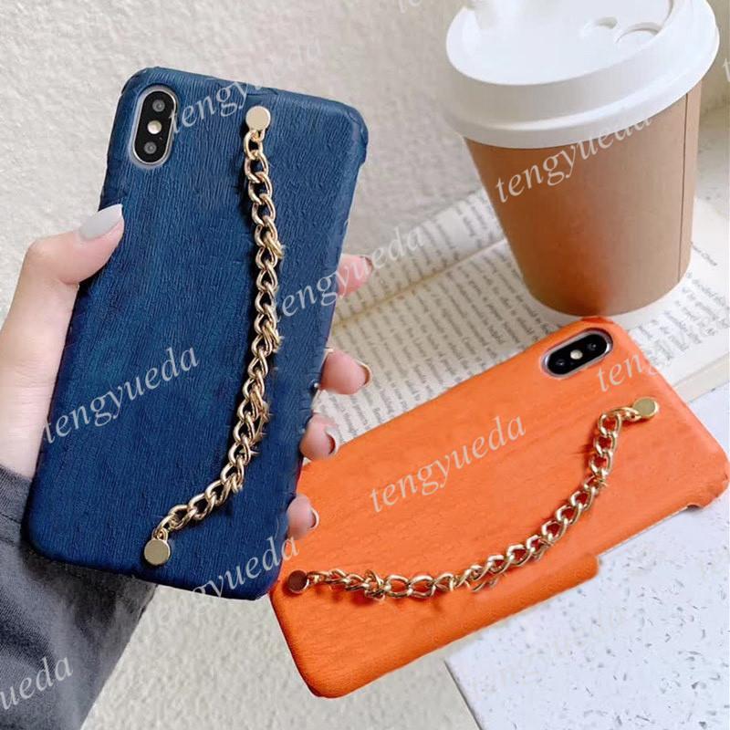 الفاخرة الأزياء سلسلة اليد الهاتف الحالات الهاتف لآيفون 12 12Pro ماكس 11 11pro xs xr xsmax 7/8 زائد جودة عالية مصمم تنقش الجلود سوار الهاتف المحمول حالة الغطاء
