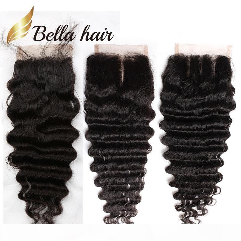 بيلا للشعر؟ 8a 8 ~ 26in إغلاق الشعر البرازيلي موجة عميقة hd قبل التقطه عذراء الشعر الطبيعي مائج أعلى الدانتيل إغلاق قطع الشعر البشري