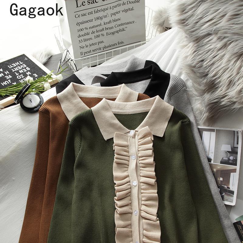 Frauenpullover Gagaok Frauen Koreaner Gestrickt 2021 Frühling Herbst Süße Full Revers Patchwork Rüschen Slim Chic Wild Pullovers