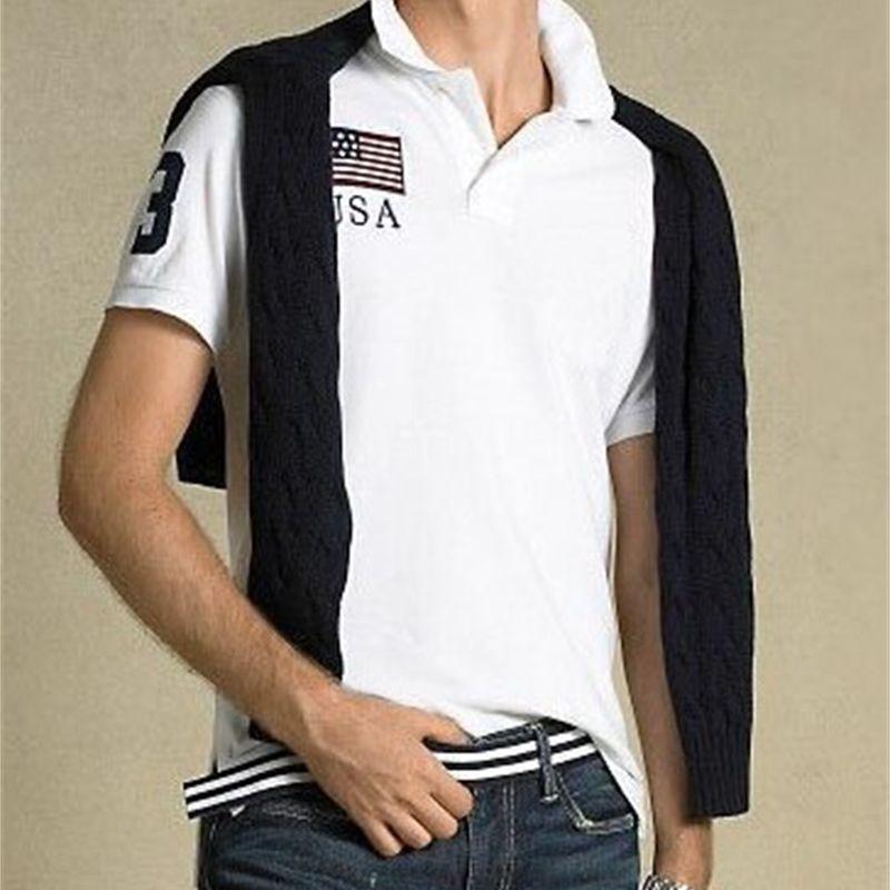 Factoryur1m Polo Mode Casual Stil Männer Big Horse Stickerei Hemd Solide Farbe USA Vereinigtes Königreich Italien Frankreich Flagge Camisa Polos Fit