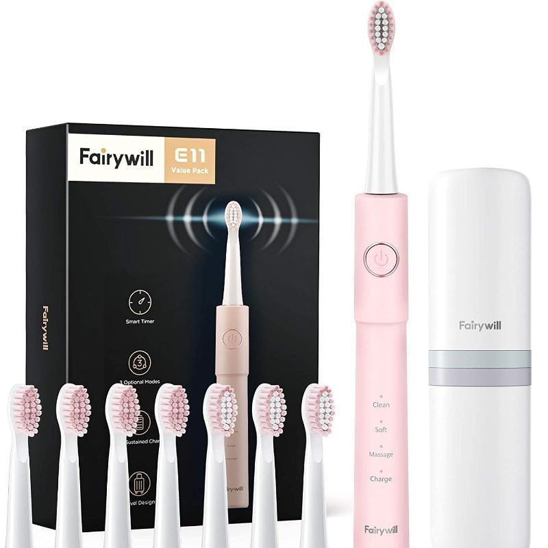 Fairywill Sonic Spazzolino elettrico E11-Rosa USB Ricaricabile potente per la pulizia efficiente per adulti 5 modalità 8 pennelli intelligenti