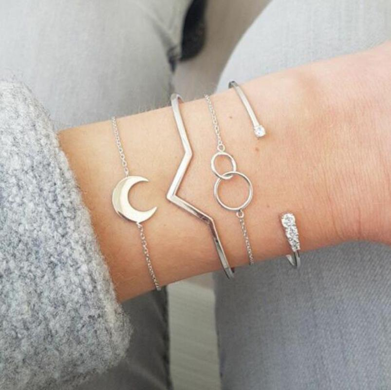Simple Natural Bracelet Moon V Size Anillos Open 4 Piece Set Jewelry Ornaments Precious Wristband Princess Bracelets Bangle