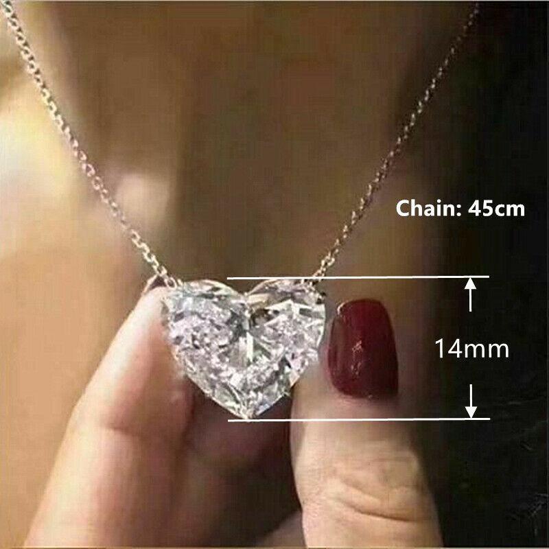 أزياء القلب 925 قلادة فضية قلادة للنساء أبيض الياقوت مجوهرات هدية
