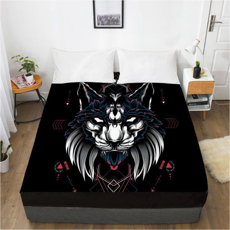 صفائح مجموعات 3d فراش جاهزة غطاء السرير ورقة البياضات السرير السرير تصميم الحيوان الذئب الأسود 183x214cm المنزل tetile
