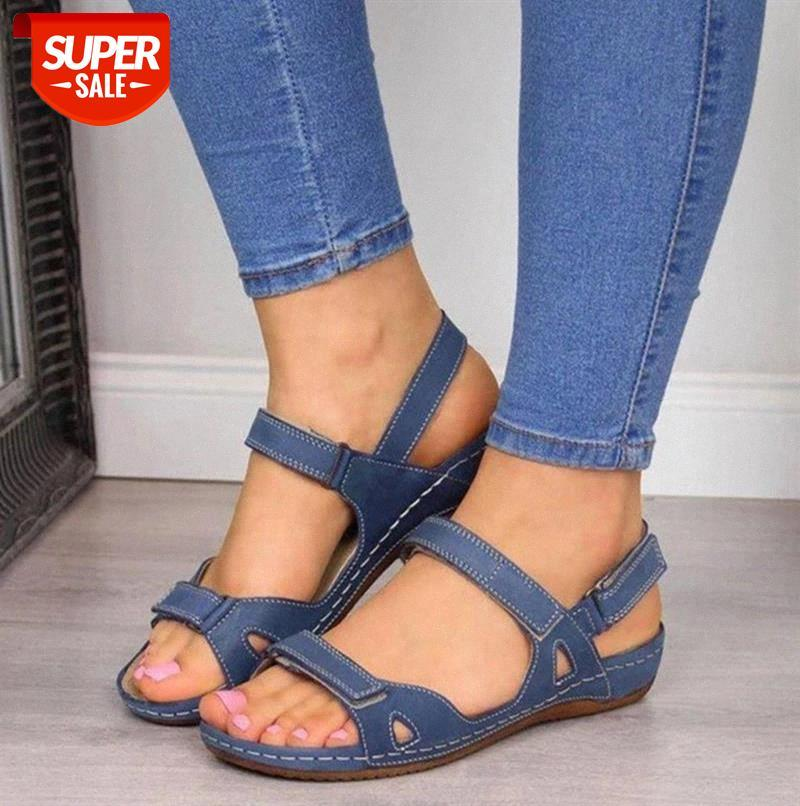 Women Summer Open Toe Comfy Sandals Super Soft Premium Orthopedic Low Heels Walking Corrector Cusion #w94v