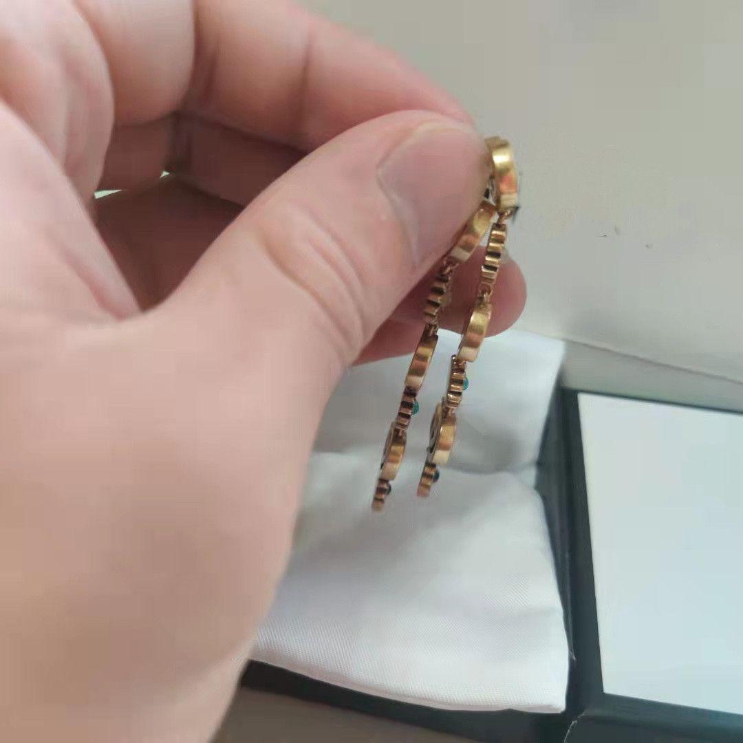 Trend Trend Retro Moda Dangle Orecchini Nuove lettere Materiale in ottone oro 925 Argento Ago Orecchini Donne Supply NRJ