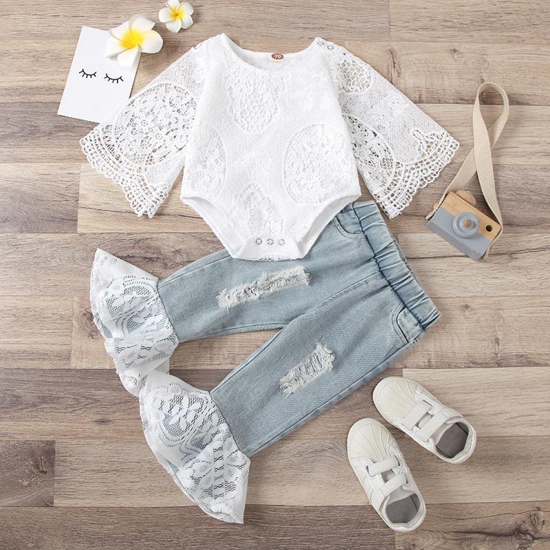 Abbigliamento set 2021 bambine vestiti estivi 2 pezzi moda dolce bianco manica lunga top bodysuitiuitlace patchwork flare pantaloni bambini vestito