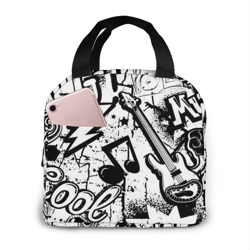 Ice Packs/Isothermic Bags Leisure Women Portable Lunch Bag Music Print Insulated Cooler Thermal Food Picnic Kids Hip Hop Tote