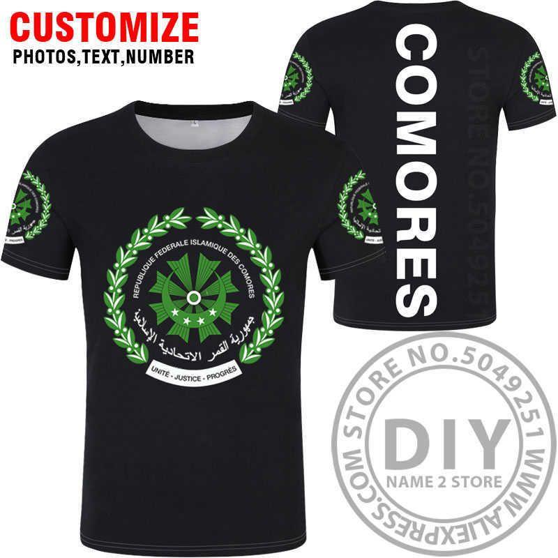 Коморские футболки DIY бесплатный пользовательский номер имени имени des com футболки нация флаг км км французский союз страны колледж печать фото одежда x0602