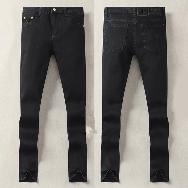 Мужские джинсы дизайнер роскошный осенний дизайн моды черный цвет растягивающие ткань прямые брюки рециркулированные вода простые щедрое повседневное деловое дело Стиль отдыха 29-38