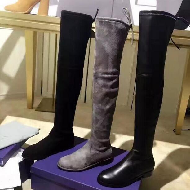 Boot Lowland Kış Diz Toe Yuvarlak Siyah Gri Süet Deri Düz Theight Botları Yüksek Kadın