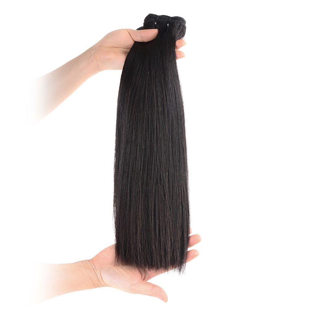 عالية الجودة مستقيم مزدوجة مرسومة الإنسان الخام عذراء الشعر ينسج 2 حزم