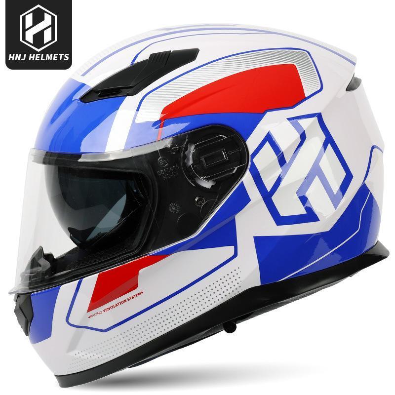 Cascos de motocicleta HNJ Moda ABS Blanco Estilo Moto Casco Blue Sport Racing Motorbike Casque Capacete De EE.UU.