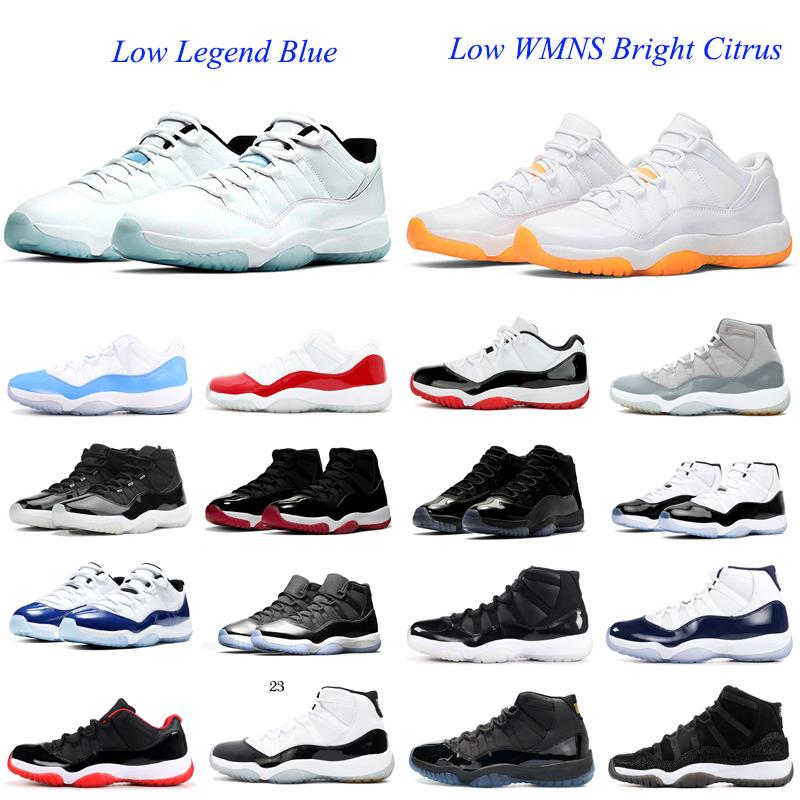 Low Wmns مشرق الحمضيات 11 11s الرجال أحذية كرة السلة قبعة و ثوب concord legend الأزرق المساحات 45 25th الذكرى الرياضية رجل الرياضة رياضة حذاء