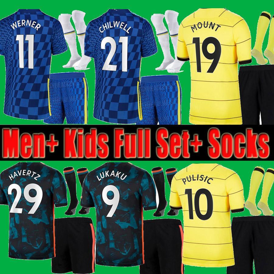 Chelsea 2021 2022 Hombres adult + niños Jerseys de fútbol pantalones cortos calcetines de calcetines de uniforme completo Kits Werner Havertz Chilwell Ziyech 21 22 Camisa de fútbol