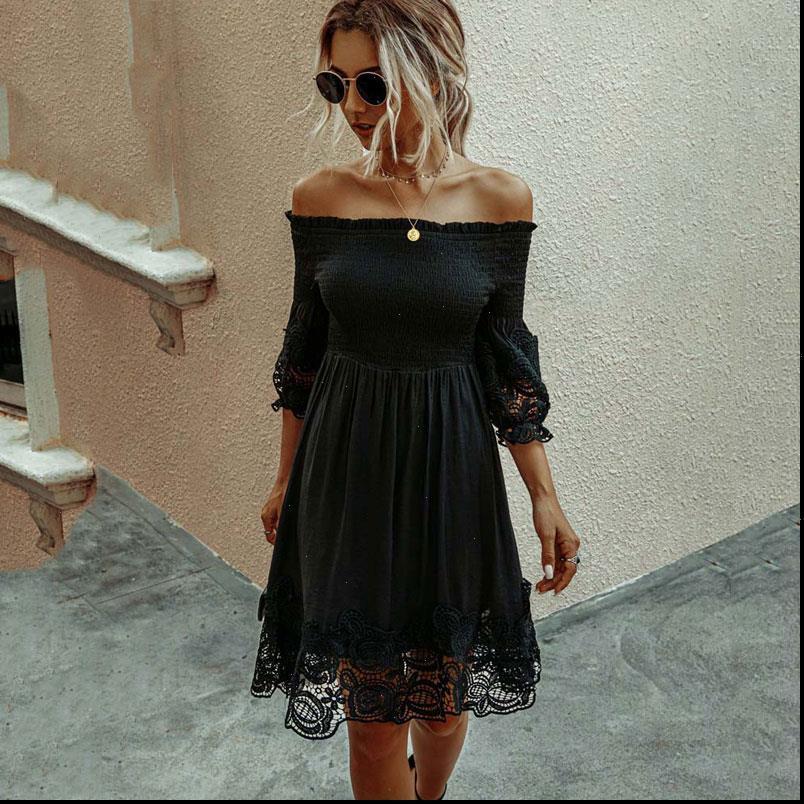 Schwarze Spitze Sommer Frauen Kleider Eine Linie Party Sommerkleidungsschulter Midi Backless Sexy Robe Femme