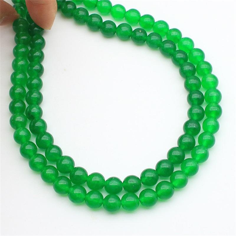 Moda kadın Doğal 8mm Yeşil Yeşim Yuvarlak Taş Boncuk Kolye 50 '' Uzun 846 Q2